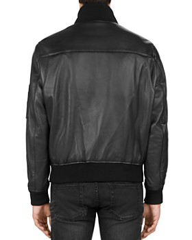The Kooples - Ribbed-Trim Leather Jacket