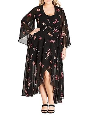 City Chic Plus Akira Floral-Print Wrap Maxi Dress