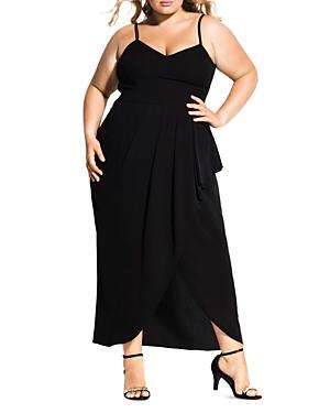 City Chic Plus Romance Flutter-Skirt Maxi Dress