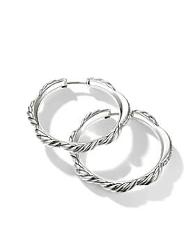 David Yurman - Tides Hoop Earrings with Diamonds in Sterling Silver