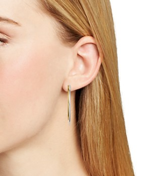 AQUA - Two-Tone Hoop Earrings in 18K Gold-Plated Sterling Silver & Sterling Silver- 100% Exclusive
