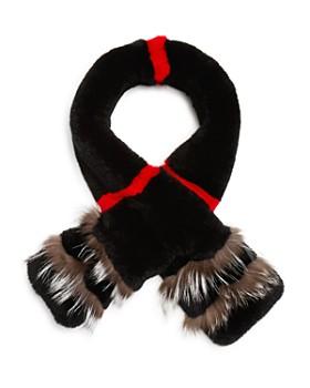 Maximilian Furs - Rabbit Fur Scarf with Fox Fur Trim