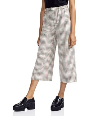 Maje Poldi Plaid Wide-Leg Cropped Pants