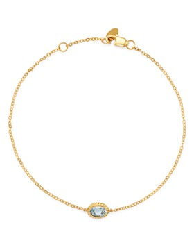 Bloomingdale's - Aquamarine Oval Bezel Set Bracelet in 14K Yellow Gold - 100% Exclusive