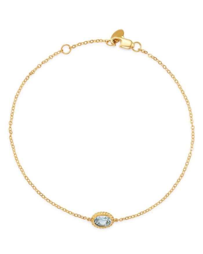 Bloomingdale's Aquamarine Oval Bezel Set Bracelet in 14K Yellow Gold - 100% Exclusive    Bloomingdale's