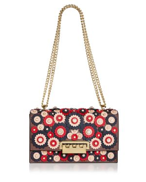 Zac Zac Posen Earthette Floral Applique Shoulder Bag