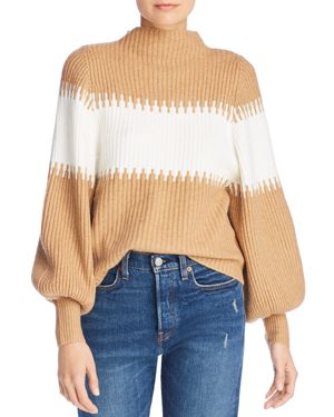 FRENCH CONNECTION Striped Blouson Sleeve Sweater in Camel/White