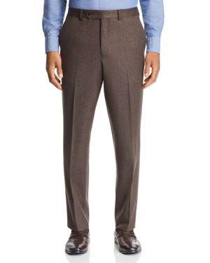JACK VICTOR Flannel Regular Fit Wool Dress Pants in Brown