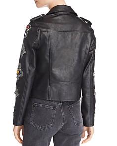 BLANKNYC - Embellished Faux Leather Moto Jacket