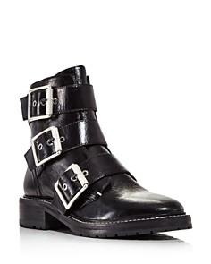 rag & bone - Women's Cannon Buckle Patent Leather Booties