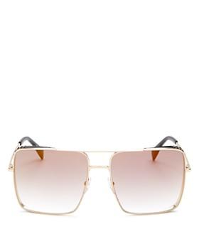 Moschino - Women's Brow Bar Mirrored Square Sunglasses, 59mm