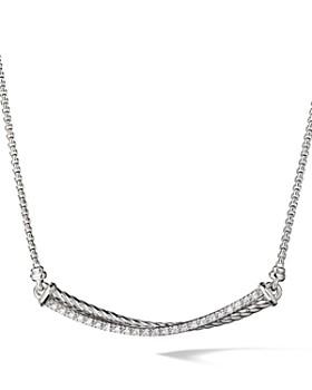 David Yurman - Crossover Bar Necklace with Diamonds