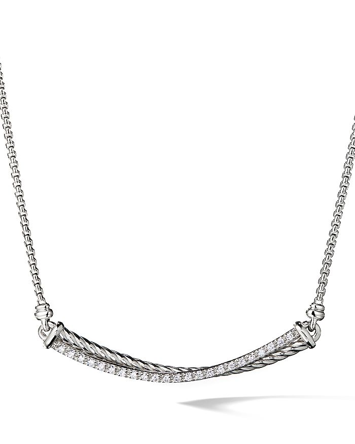 David Yurman - Crossover Bar Necklace with Diamonds in Sterling Silver