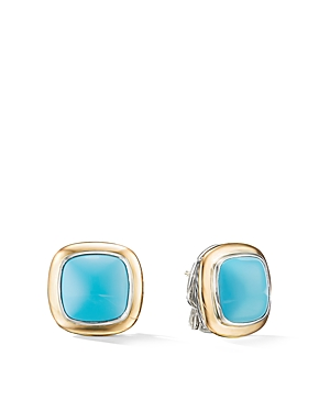 David Yurman Albion Stud Earrings with 18K Yellow Gold & Reconstituted Turquoise