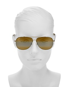 Maui Jim - Cinder Cone Mirrored Brow Bar Aviator Sunglasses, 58mm