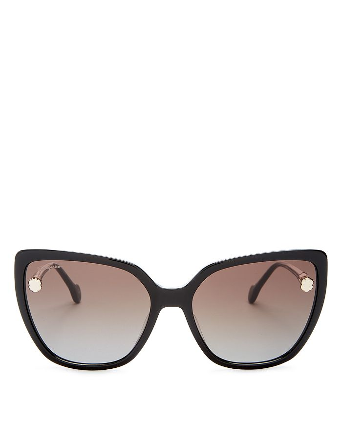Salvatore Ferragamo Women S Fiore Cat Eye Sunglasses 59mm In Black Gray Modesens