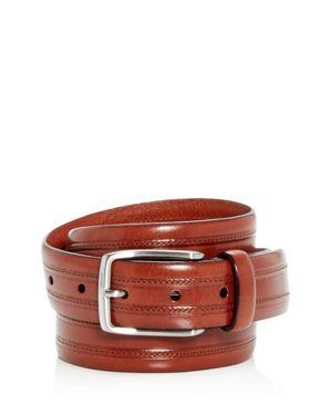 TRAFALGAR Allister Topstitch Leather Belt in Cognac