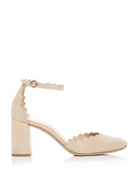 Chloé - Women's Lauren Scalloped Suede Ankle-Strap Pumps