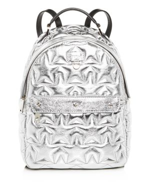 Favola Star-Quilted Leather Backpack in Silver/Silver
