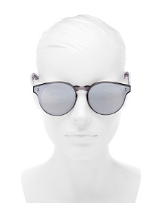 Illesteva - Women's Oversized Mirrored Round Sunglasses, 64mm