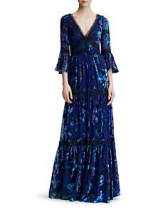 MARCHESA NOTTE - Floral-Pattern Burnout Velvet Gown