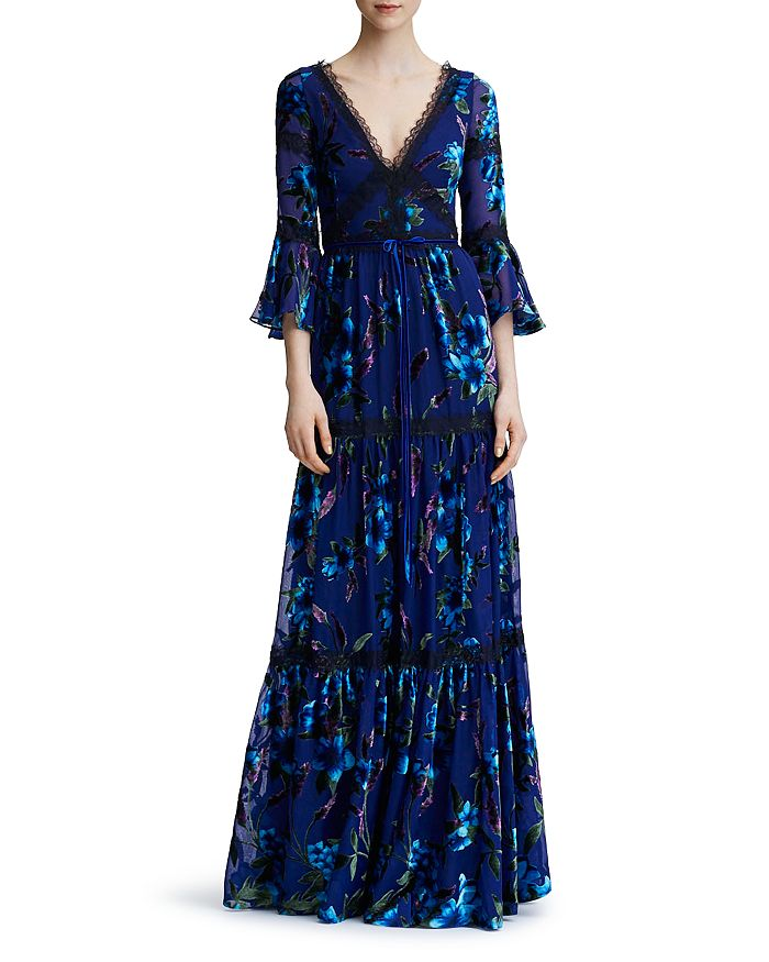 8a367c139b9 MARCHESA NOTTE - Floral-Pattern Burnout Velvet Gown