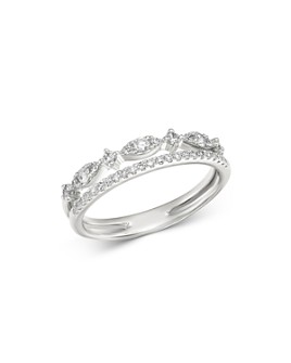 Bloomingdale's - 14K White Gold Diamond Double Row Ring