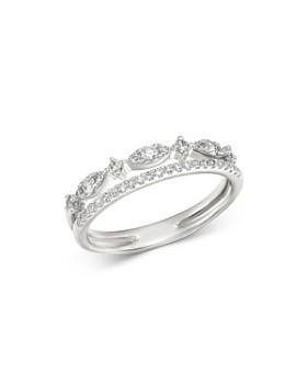 KC Designs - 14K White Gold Diamond Double Row Ring