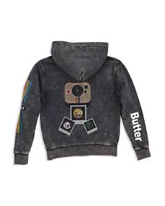 Butter - Girls' Mineral-Wash Embellished Camera Emoji Fleece Hoodie - Little Kid, Big Kid