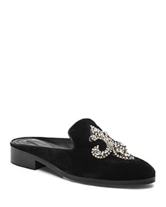 The Kooples - Women's Fleur-de-Lis Velvet Mules