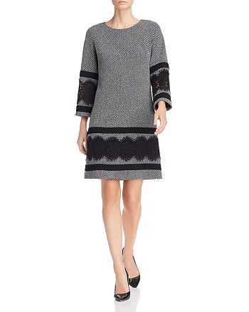 KARL LAGERFELD Paris - Lace-Trim Textured Shift Dress