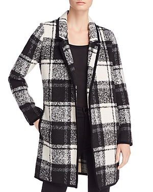 Calvin Klein Coats OPEN-FRONT PLAID COAT