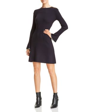 Flare Sleeve Sweater Dress in Medium Navy