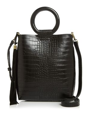 STREET LEVEL Croc-Embossed Tote With Circle Handles in Black/Gold