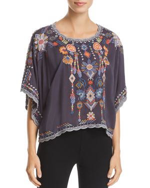 Johnny Was Caspian Embroidered Dolman-Sleeve Top