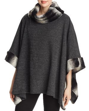 CAPOTE Faux-Fur-Trim Poncho in Charcoal