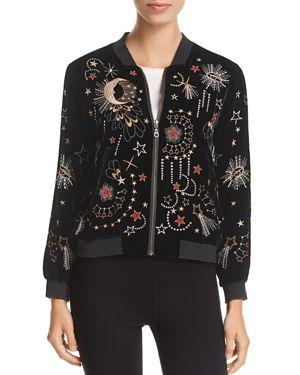 JOHNNY WAS Calisto Embroidered Velvet Bomber Jacket in Black