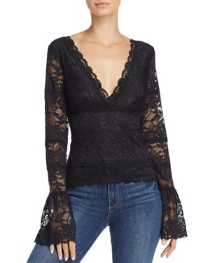 GUESS Jordan Lace Bell-Sleeve Top in Jet Black