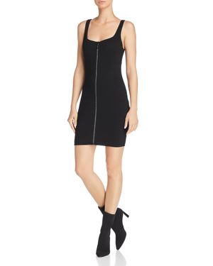 GUESS Mirage Embellished Zip-Front Bodycon Dress in Jet Black