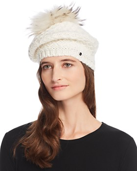 Echo - Fur Pom-Pom Diamond-Knit Beret - 100% Exclusive