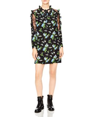 Sandro Spirituelle Lace-Inset Ruffled Floral Dress 3140229
