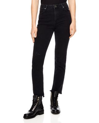 Opéra High Rise Frayed Straight Leg Jeans In Black by Sandro