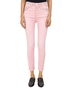 The Kooples - Studded Mid-Rise Cropped Skinny Jeans in Pink