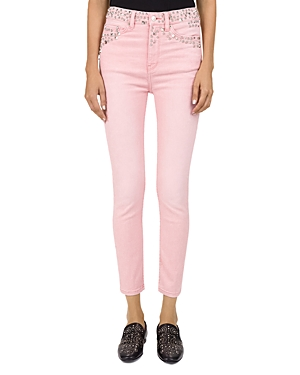 The Kooples Studded Mid-Rise Cropped Skinny Jeans in Pink