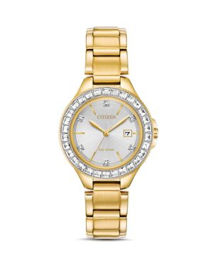 Citizen Crystal Eco-Drive Gold-Tone Watch, 31mm