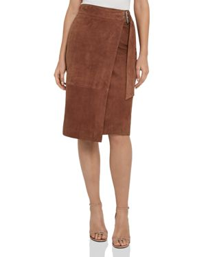 Milly Suede Wrap Skirt in Brown