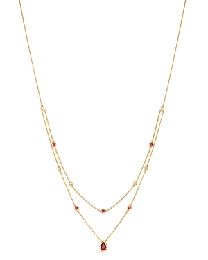 Bloomingdale's Ruby & Diamond Layered Necklace in 18K Yellow Gold, 18 - 100% Exclusive