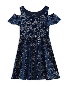 Pippa & Julie - Girls' Floral Velvet Cold Shoulder Dress - Big Kid