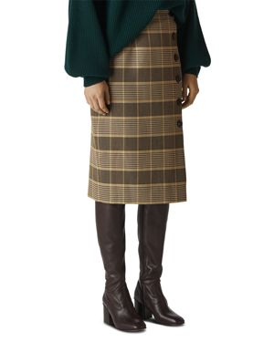 Whistles Check Buttoned Skirt
