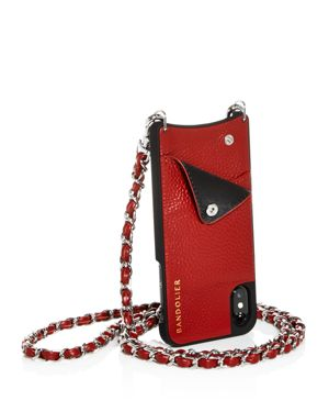 BANDOLIER Lucy Leather Iphone X Crossbody in Crimson/Silver